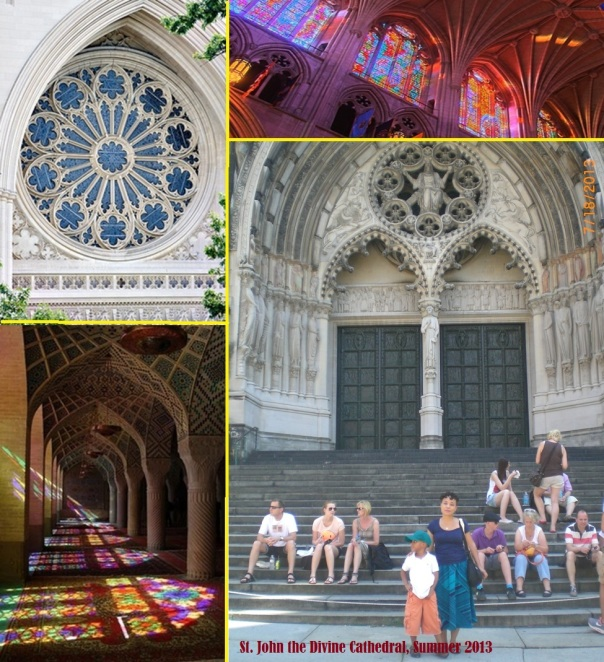 "Clockwise from left: Rose window at National Cathedral, stained glass in nave of National Cathedral, us in front of ""Big John"" in Morningside Heights (NYC); Rowan Castle's photo ""Nasir-ol-Molk Mosque, Shiraz, Iran"" (from Lonely Planet.com)"